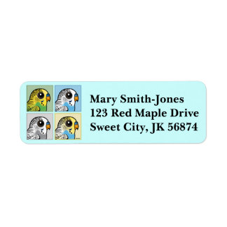 Four Color Budgies Return Address Label