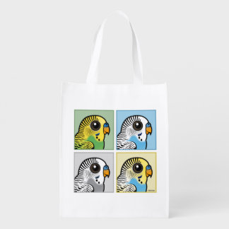 Four Color Budgies Reusable Grocery Bag