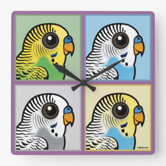 Four Color Budgies Square Wall Clock