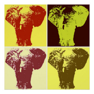 Four Color Pop Art Elephants Retro Style Poster
