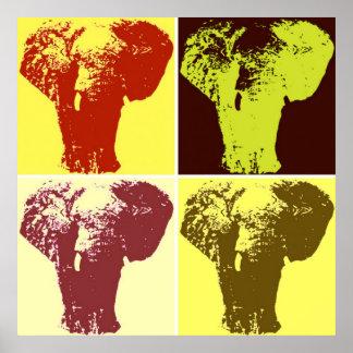 Four Color Pop Art Elephants Retro Style Poster