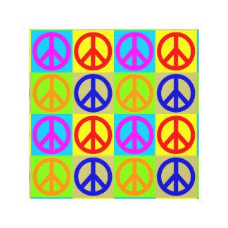 Four Color Pop Art Peace Sign Wrapped Canvas Canvas Prints