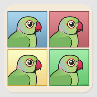 Four Color Rose-ringed Parakeet Square Sticker