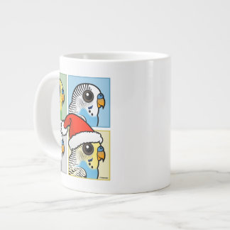 Four Color Xmas Budgies Large Coffee Mug