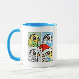 Four Color Xmas Budgies Mug