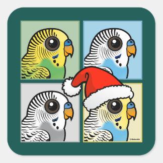 Four Color Xmas Budgies Square Sticker