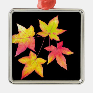 Four colored autumn leaves on black background Silver-Colored square ornament