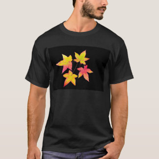 Four colored autumn leaves on black background T-Shirt
