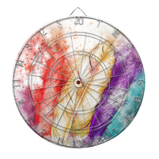 Four Colorful Feather Paint Like Designed Dartboard