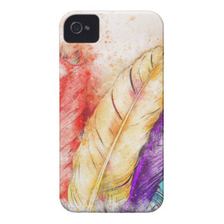 Four Colorful Feather Paint Like Designed iPhone 4 Case-Mate Case