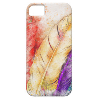 Four Colorful Feather Paint Like Designed iPhone 5 Case