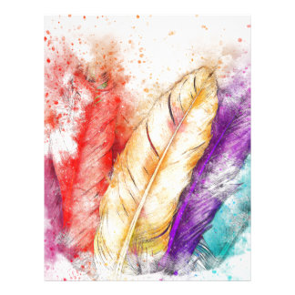 Four Colorful Feather Paint Like Designed Letterhead