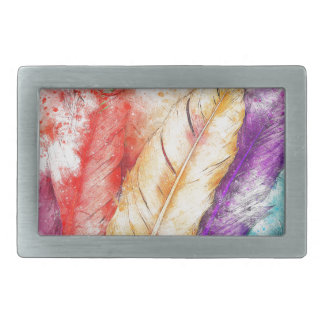 Four Colorful Feather Paint Like Designed Rectangular Belt Buckle