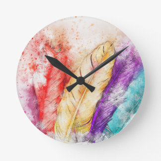 Four Colorful Feather Watercolor Designed Round Clock