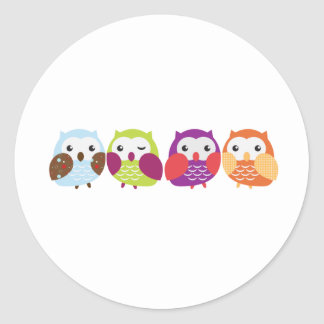 Four Colorful Owls Round Sticker