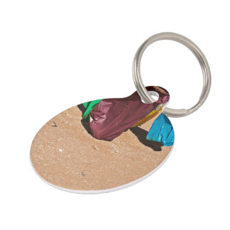 Four Colorful Recycle Bins Pet ID Tag