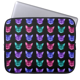 Four Colors Cats On Black Laptop Sleeves