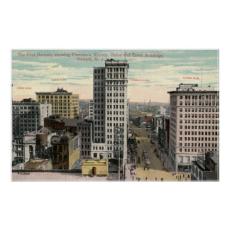 Four Corners, Newark, NJ c1915 Vintage Poster