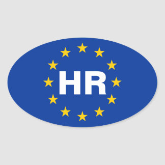 "FOUR Croatia ""HR"" European Union Flag Oval Sticker"