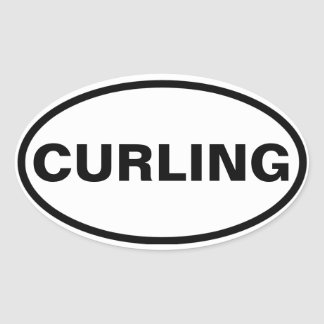 """FOUR """"CURLING"""" OVAL STICKER"""