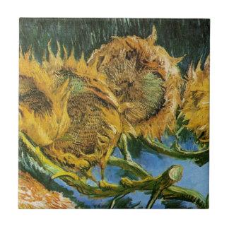 Four Cut Sunflowers, Vincent van Gogh Tile
