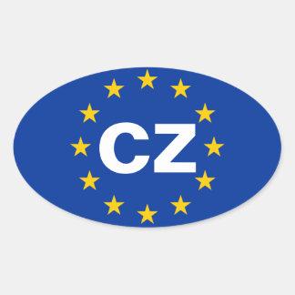"FOUR Czech Republic ""CZ"" European Union Flag Oval Sticker"
