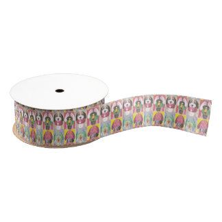 Four dogs pop art ribbon grosgrain ribbon