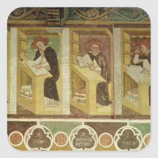 Four Dominican Monks at their Desks, from the cycl Square Sticker