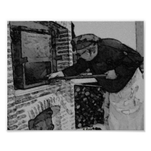 Four du parfum de boulanger (Enfourner). Charcoil  Affiche