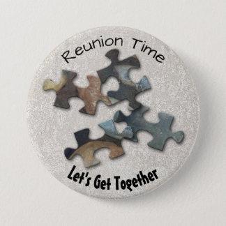 Four Earth Tone Puzzle Pieces Corner 3 Inch Round Button