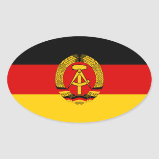 FOUR East Germany Flag Oval Sticker