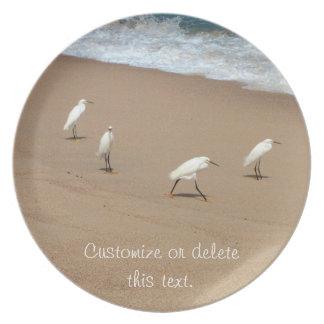 Four Egrets; Customizable Dinner Plates
