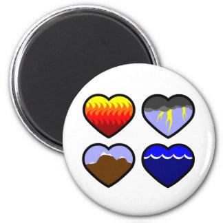 Four Elements Hearts Magnet