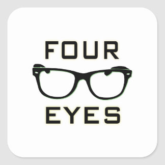 Four Eyes Square Stickers