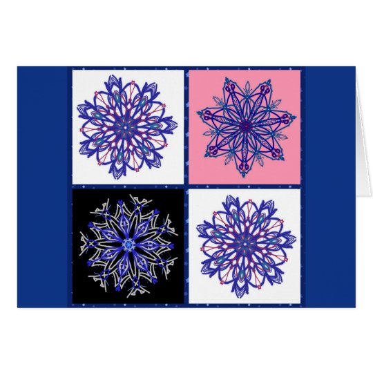 Four fancy snowflakes on blue card