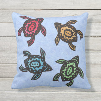 Four Festive Black Turtles Colored Shells on blue Throw Pillow