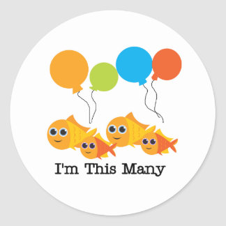 Four  Fish I'm This Many Classic Round Sticker