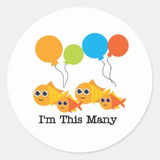 Four  Fish I'm This Many Round Sticker