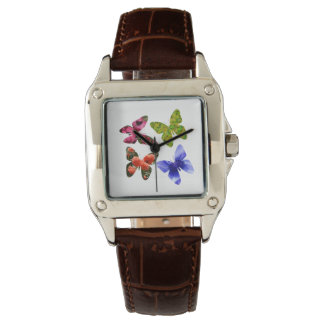 Four Flower Butterflies, Brown Leather Watch