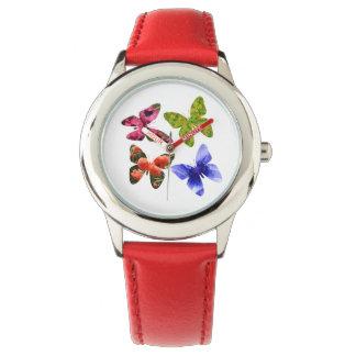Four Flower Butterflies, Kids Leather Watch