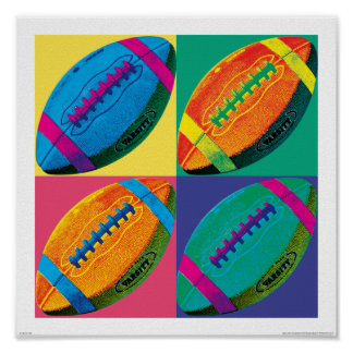 Four Footballs in Different Colors Poster