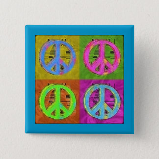 FOUR FOR PEACE 2 INCH SQUARE BUTTON
