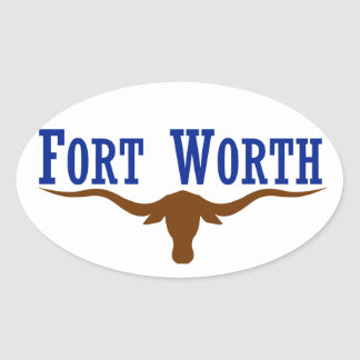 FOUR Fort Worth Flag Oval Sticker