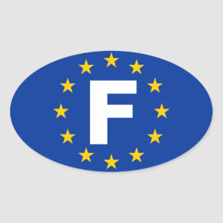 "FOUR France ""F"" European Union Flag Oval Sticker"