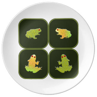 Four frogs porcelain plate