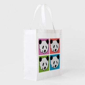Four Giant Panda Bears Reusable Grocery Bag