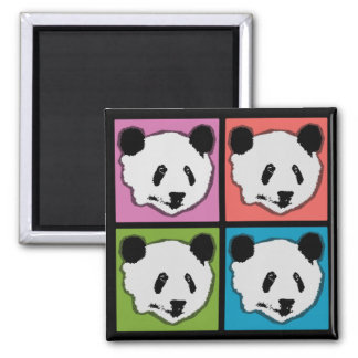 Four Giant Panda Bears Square Magnet