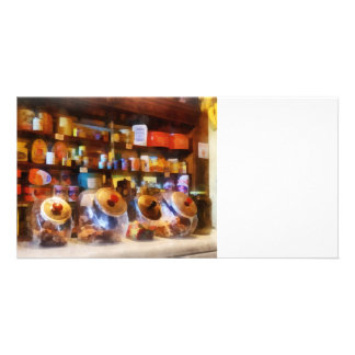 Four Glass Candy Jars Customized Photo Card