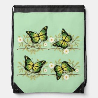 Four green butterflies drawstring bag