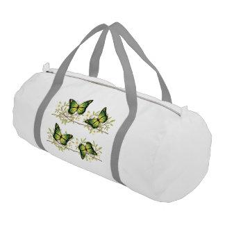 Four green butterflies gym bag